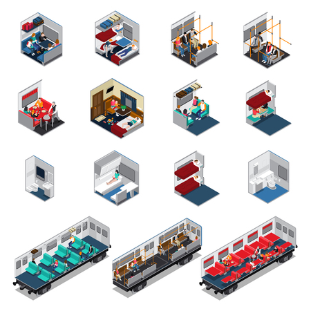 Train interior isometric set of various wagon coupe electric train carriage with seat places biotoilet dinning car vector illustration