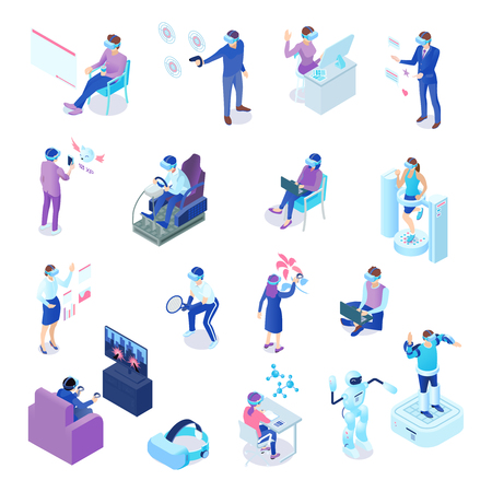 Human characters with virtual reality technology during business process, chat, sport activity, games, learning isolated vector illustration Illusztráció