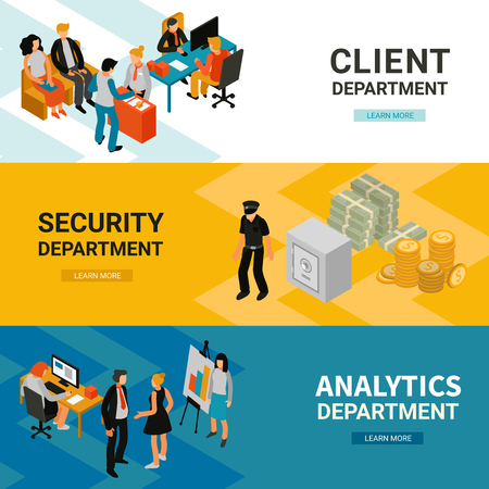 Bank office 3 horizontal isometric website banners with clients adviser security system analytic department isolated vector illustration