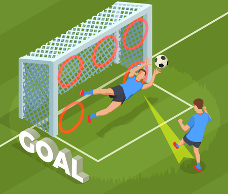 Football soccer isometric people composition with human character of player dropping goal into cage with text vector illustration Çizim