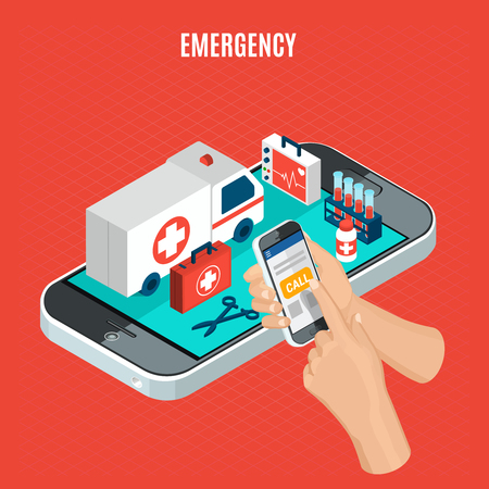 Emergency call isometric concept with ambulance car and medical equipment for examination and analysis 3d vector illustration Stock Illustratie
