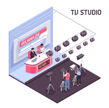 Hot news live broadcasting from tv studio concept on white background 3d isometric vector illustration Foto de archivo - 102890641