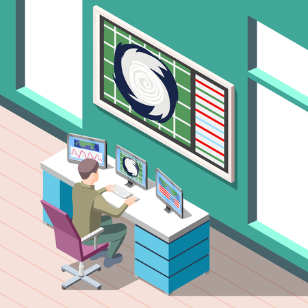 Weather forecaster at work place during research climate conditions isometric background with interior elements vector illustration Stock Illustratie