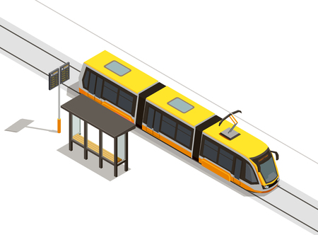 Public city transport isometric composition with view of streetcar line and rolling stock with transit shelter vector illustration
