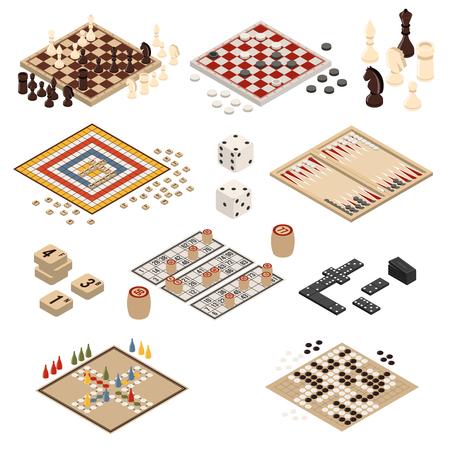 Conjunto de iconos de juegos de mesa isométricos y coloreados aislados backgammon mahjong ajedrez damas dominó ilustración vectorial