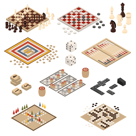 Isolated colored and isometric board games icon set backgammon mahjong chess checkers domino vector illustration