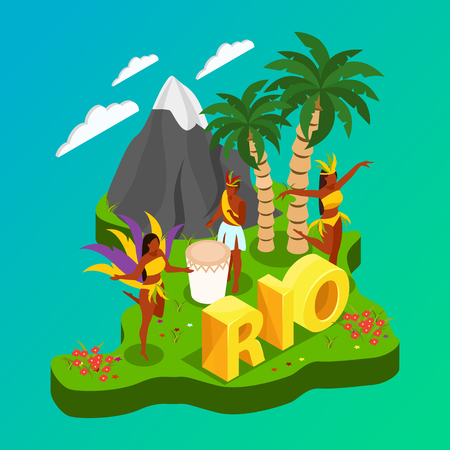 Brazilian carnival concept with dancing people and nature symbols isometric vector illustration  イラスト・ベクター素材