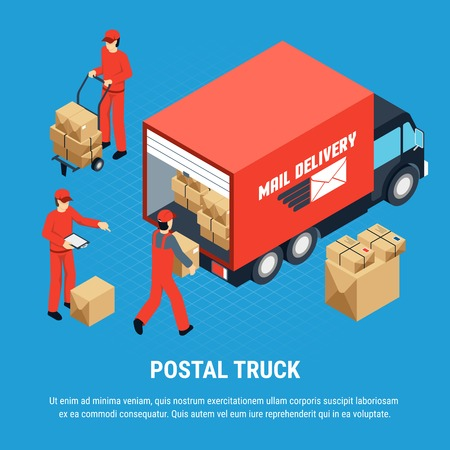 Multicolored Mail isometric composition with postal truck headline and red uniform for employees vector illustration