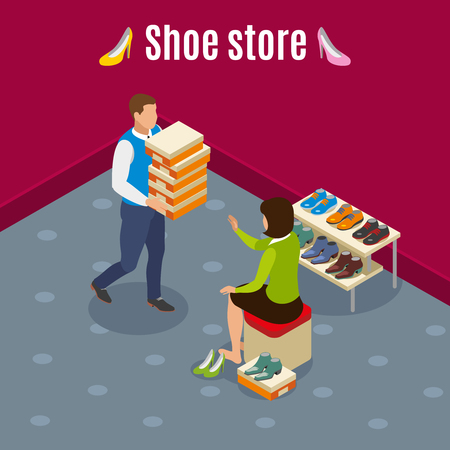 Shoe store isometric background with woman during choice of goods, seller with boxes vector illustration
