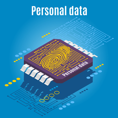 Backup personality isometric background with conceptual image of microprocessor engraved with dactylogram of human finger print vector illustration