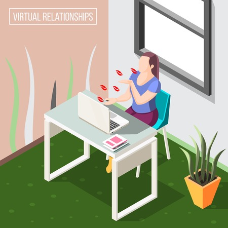 Virtual relationships isometric background with woman sending air kisses by video camera on laptop vector illustration