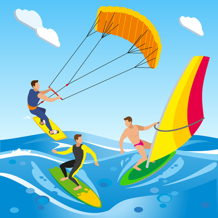 Surfing isometric composition with open sea landscape with images of clouds and different types of sailboard vector illustration