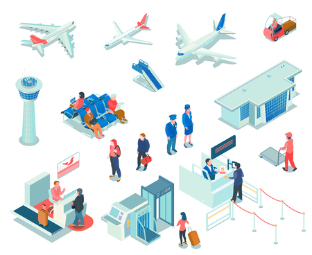 Airport isometric icons on white background  with registration and passport control services tourists and staff isolated vector illustration