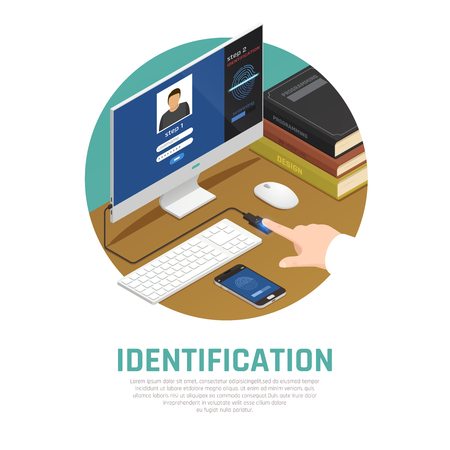 Access identification isometric composition with editable text and view of workplace with computer and fingerprint sensor vector illustration