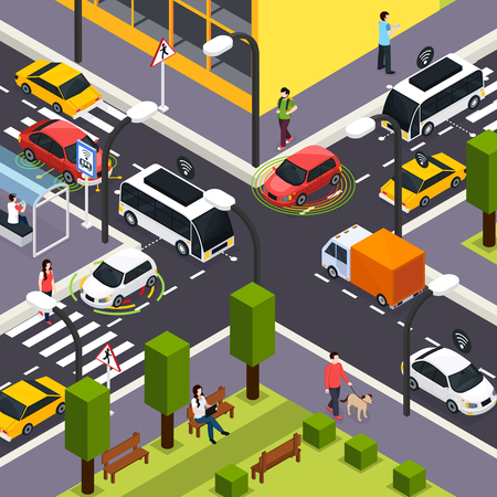 City crossroad isometric background with autonomous driverless cars on road and people walking on the street vector illustration Stok Fotoğraf - 102890609