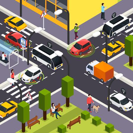 Fondo isometrico dell'incrocio della città con le automobili senza conducente autonome sulla strada e la gente che cammina sull'illustrazione di vettore della strada