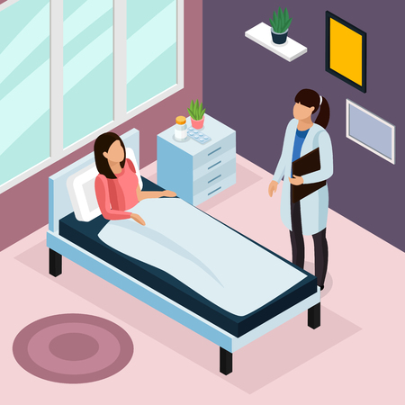 Tuberculosis prevention isometric composition  with hospital treatment symbols vector illustration Illustration