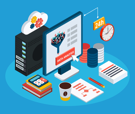 Data analysis isometric background with computer connected by unlimited Internet access to cloud storage vector illustration
