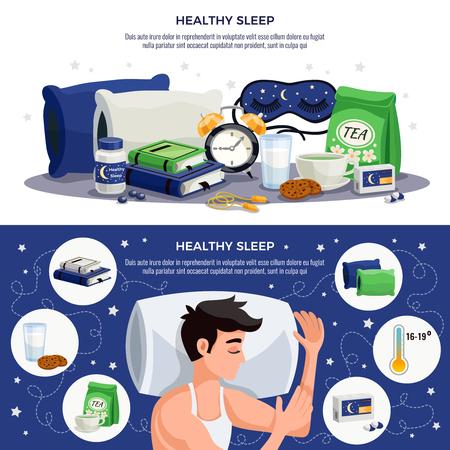 Banners horizontales de sueño saludable con hombre joven durmiendo en almohadas ortopédicas libros de máscara de té calmantes con recomendaciones para la ilustración de vector de estilo de vida saludable