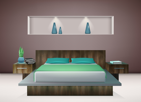 Contemporary bedroom interior with bedding in shades of emerald and aquamarine green wall decorations realistic vector illustration