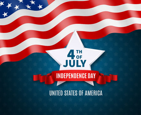 Independence day postcard in colors of national america flag big white star and text 4th of july vector illustration