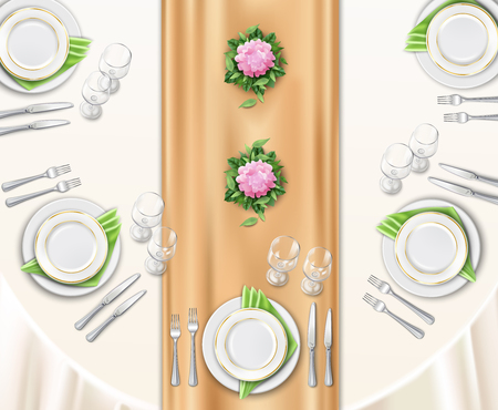 Dinner table set up background with top view of table covered with festive tablecloth and decorated by flowers realistic vector illustration Stock Illustratie