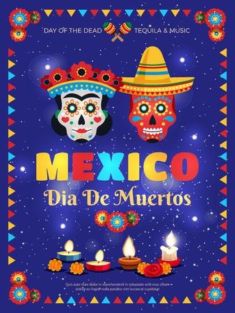 Cartel colorido de las tradiciones de la cultura de México con símbolos de celebración del día muerto máscaras velas accesorios fondo azul ilustración vectorial