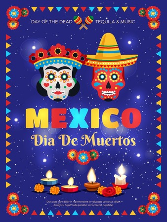 Mexico culture traditions colorful poster with dead day celebration symbols masks candles accessories blue background vector illustration Ilustracja