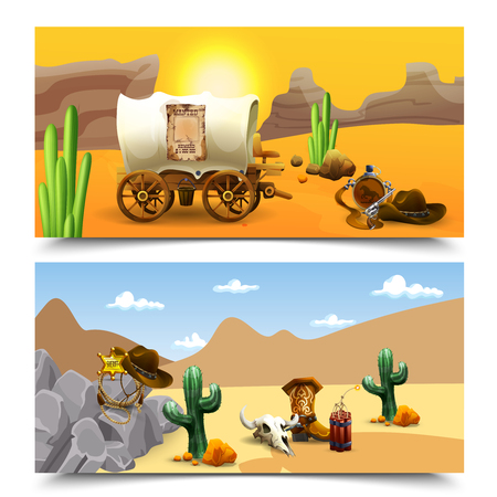 American old west horizontal banners with cart of cowboy at sundown and sheriff accessories isolated vector illustration
