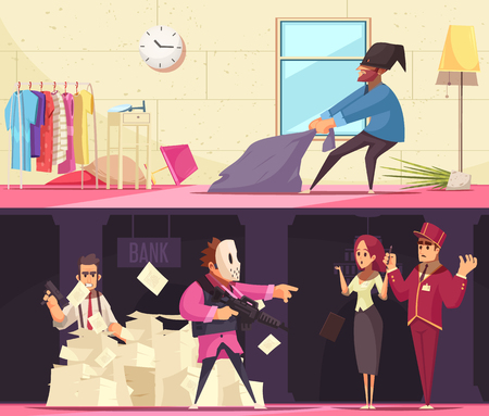 Criminal banners collection with indoor compositions of thief and terrorist characters in bank and private apartment vector illustration