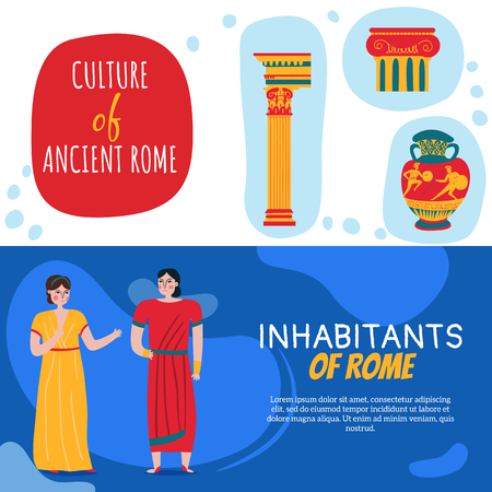 Set of two ancient rome empire horizontal banners with editable text and human characters in tunics vector illustration Illustration