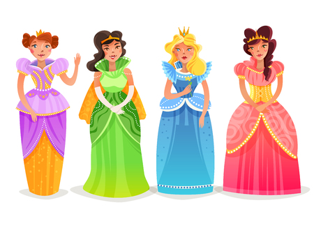 Princesses cartoon set with female characters in bright colorful elegant dresses and crowns  isolated vector illustration Illustration