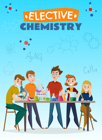 Elective chemistry cartoon poster, school students during lab experiment on blue background with formulas vector illustration