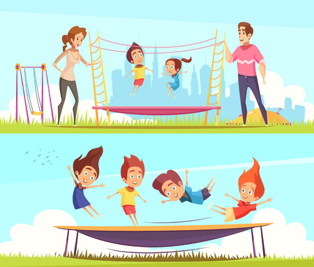 Set of two horizontal jumping trampolines banners with human characters of teenager friends and family members vector illustration