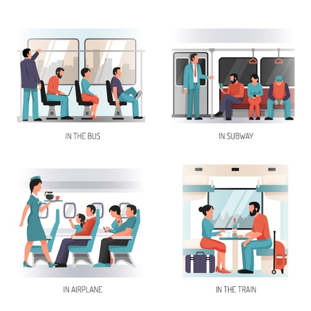 People in transport flat concept design with  with airplane subway train city bus passengers isolated vector illustration Illustration