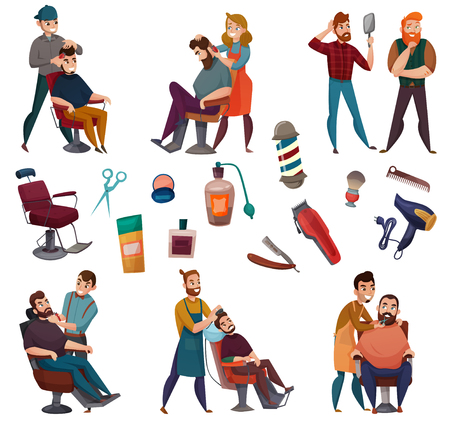 Barber services cartoon set with male hairdresser during work and professional tools isolated vector illustration