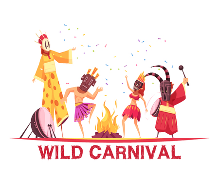 People wearing african costumes and dancing at wild carnival party cartoon vector illustration