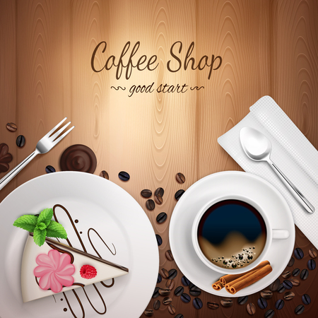 Coffee shop top view realistic background with images of wooden table plates and cups with text vector illustration Foto de archivo - 103367531