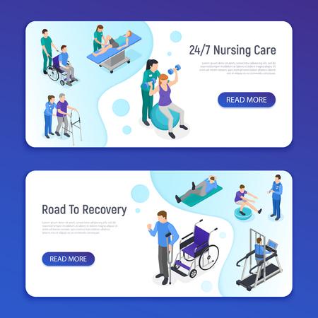 Fysiotherapie revalidatiekliniek 2 isometrische horizontale webbanners met verpleegkundige zorg weg naar herstel info vector illustratie