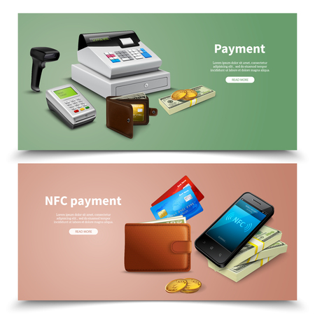Set of horizontal banners realistic financial equipment with money and nfc payment colored background isolated vector illustration