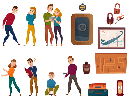 Human characters during quest game in reality, playing elements doorway, keys, maps, cartoon set isolated vector illustration  イラスト・ベクター素材