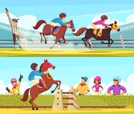 馬術スポーツバナー漫画スタイルの人間のキャラクターベクトルイラストと競馬の瞬間の屋外の組成物とコレクション