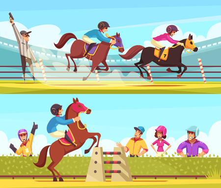 Equestrian sport banners collection with outdoor compositions of horse racing moments with cartoon style human characters vector illustration