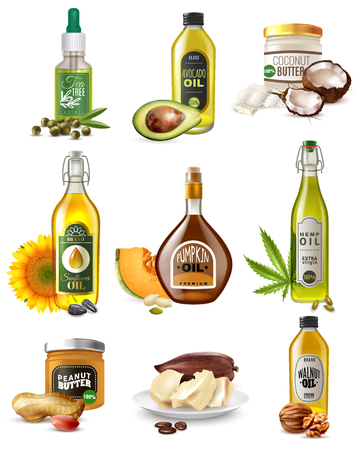Set of realistic vegetable oils from seeds, nuts and fruits in bottles and jars isolated vector illustration
