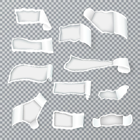 Torn paper curls exposing inner layer through variously shaped holes realistic images collection transparent isolated vector illustration