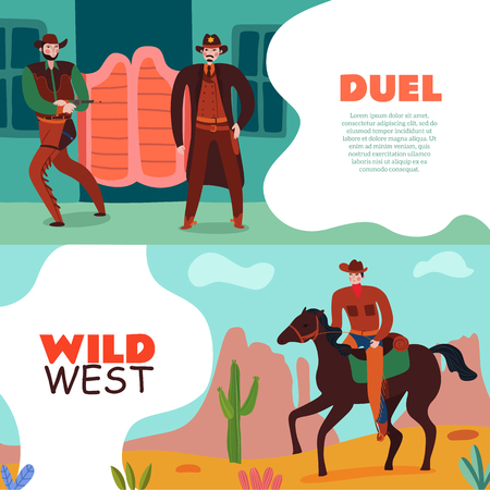 Wild west cowboy banners collection of two horizontal compositions with editable text and flat vintage scenery images vector illustration