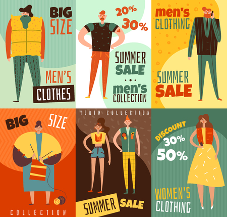Life cycles of man and woman vertical cards, clothing collections for youth, mature persons, isolated vector illustration Illusztráció
