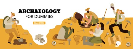 Archaeology for dummies web page header with funny characters on historical dig site amazing findings vector illustration Illustration