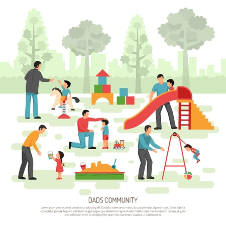 Fathers children rearing community activities flat composition poster with dads playing with little kids outdoor vector illustration