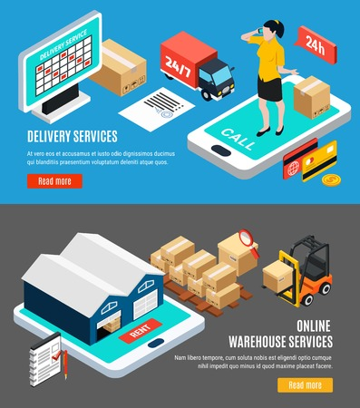 Isometric set of two horizontal logistics isometric banners with online delivery and warehouse services 3d isolated vector illustration